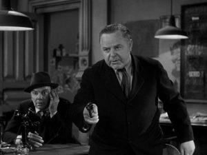 Sheriff Hartwell (Gene Lockhart) is prepared to murder Earl Williams to cover his mistakes in Howard Hawks' His Girl Friday (1940)