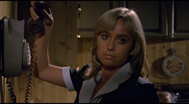 Susan George as nanny Louise, the inside member of the kidnap gang in Piers Haggard's Venom (1981)