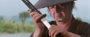 Tomisaburô Wakayama as assassin Itto Ogami in Kenji Misumi's Baby Cart to Hades (1972)