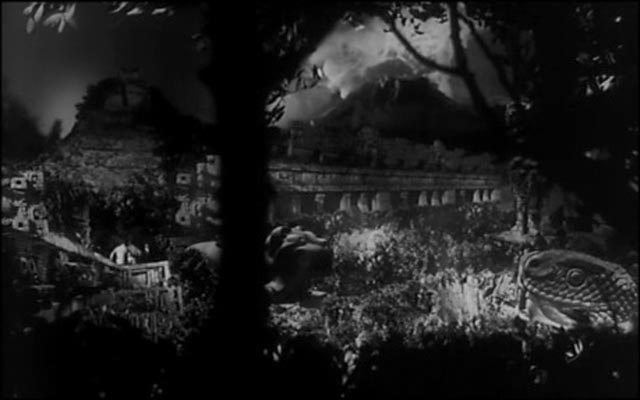 One of Mario Bava's elaborate glass shots, the only live action element the actors visible at centre left in Mario Bava & Riccardo Freda's Caltiki: The Immortal Monster (1959)