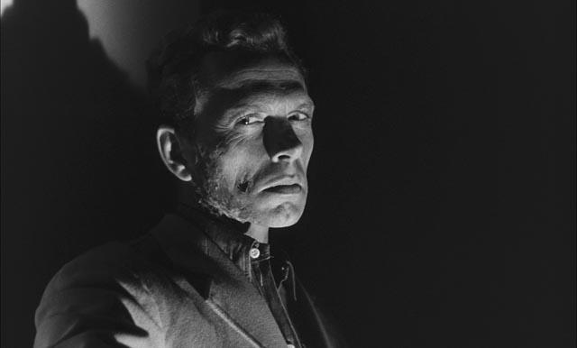 Max Gunther (Gérard Herter) becomes progressively more insane as the infection spreads through him in Mario Bava & Riccardo Freda's Caltiki: The Immortal Monster (1959)
