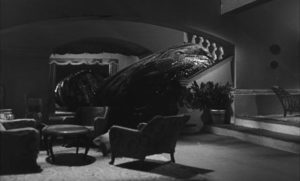 The blob oozes through Prof. Fielding's house: one of Bava's miniatures in Mario Bava & Riccardo Freda's Caltiki: The Immortal Monster (1959)