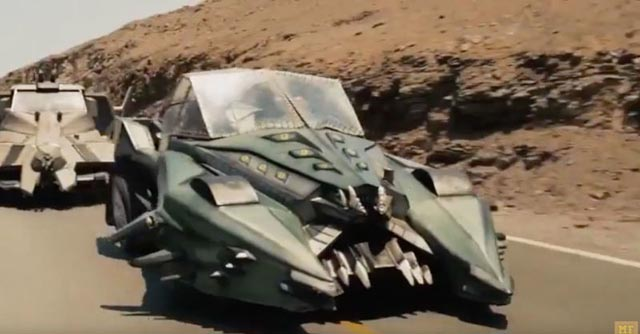 Two of the vehicles in G.J. Echternkamp's retread, Death Race 2050 (2017)