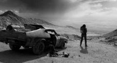 The striking opening image of George Miller's black-and-white Fury Road (2016)