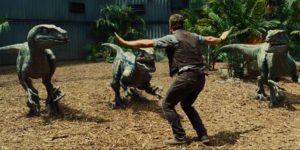 Chris Pratt with his raptor friends in Colin Trevorrow's Jurassic World (2015)
