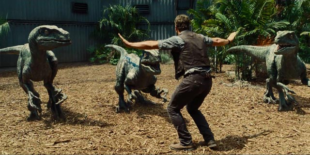 Chris Pratt with his raptor friends in Colin Trevorrow's Jurassic World (2015)