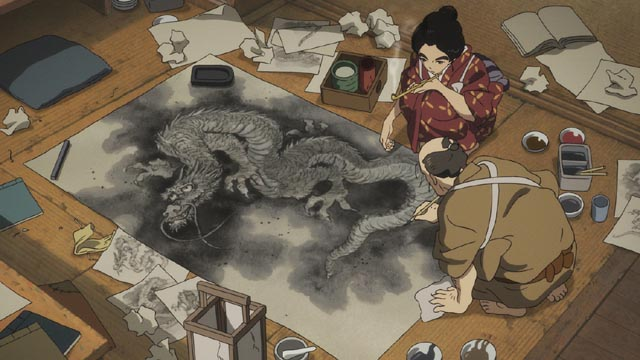 O-Ei watches her father, the famous artist Hokusai, completing a dragon painting in Keiichi Hara's Miss Hokusai (2015)