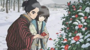 O-Ei introduces her blind sister O-Nao to the tactile sensation of a flower in Keiichi Hara's Miss Hokusai (2015)