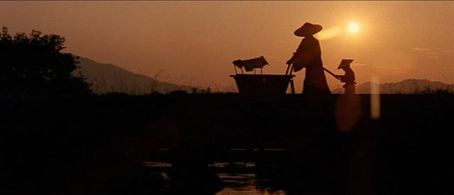 The assassin Lone Wolf and Cub traversing landscapes of beauty on his way to violent confrontations in Kenji Misumi's Sword of Vengeance (1972)