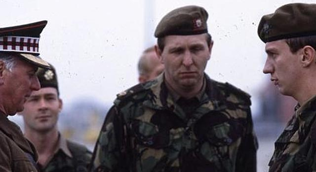 The military authorities are unhappy to see Kevin Deakin (David Thewlis) return alive in Paul Greengrass' Resurrected (1989)