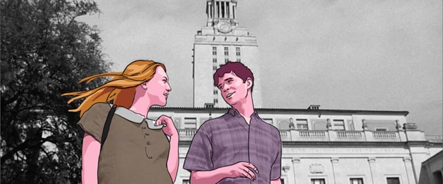 A student couple in Keith Maitland's Tower (2016), moments before horror strikes