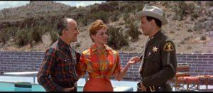 Janice (Virginia Shaw) introduces Deputy Martin (Cornel Wilde) to her father, mine-owner Jim Kendon (Alexander Lockwood) in Don Siegel's Edge of Eternity (1959)