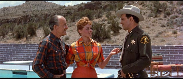 Janice (Virginia Shaw) introduces Deputy Martin (Cornel Wilde) to her father, mine-owner Jim Kendon (Alexander Lockwood) in Don Siegel's Edge of Eternity (1959)