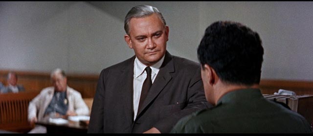 County Attorney Sam Houghton (Wendell Holmes) accuses Martin (Cornel Wilde) of incompetence in Don Siegel's Edge of Eternity (1959)