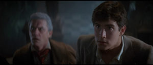 William Ragsdale and Roddy McDowall check out the vampire's suburban home in Tom Holland's Fright Night (1985)