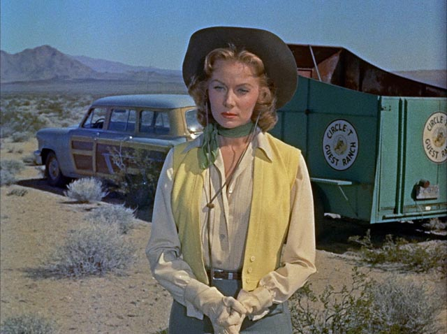 Geraldine (Rhonda Fleming) has some pangs of conscience about committing murder by inaction in Roy Ward Baker's Inferno (1953)