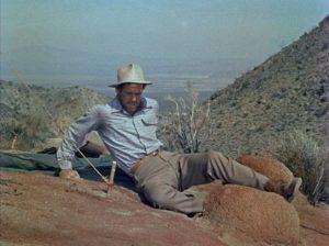 Robert Ryan as the resourceful Carson prepares to set his own broken leg in Roy Ward Baker's Inferno (1953)