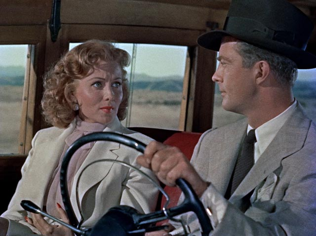 Geraldine (Rhonda Fleming) and Duncan (William Lundigan) return to the desert to make sure Carson (Robert Ryan) is really dead in Roy Ward Baker's Inferno (1953)