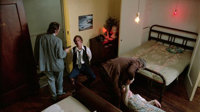 Sandra and Eddie attacked in the hotel room in Frederick R. Friedel's Kidnapped Coed (1975)