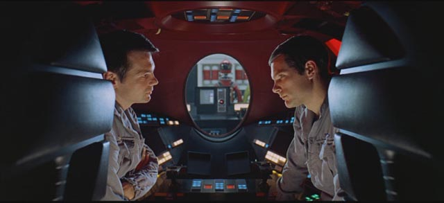 Man trapped by his own technology in Stanley Kubrick's 2001: A Space Odyssey (1968)