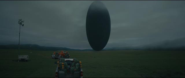 The inscrutable alien spaceship hovers in Denis Villeneuve's Arrival (2016)