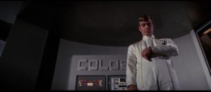 Dr. Forbin (Eric Braeden) prepares to turn over control to his invention in Joseph Sargent's Colossus: The Forbin Project (1970)