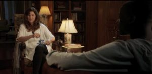 Girlfriend's mom Missy (Catherine Keener) smoothly seduces the unguarded Chris in Jordan Peele's Get Out (2017)