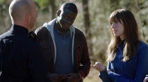 Chris (Daniel Kaluuya) tries not to provoke the traffic cop in Jordan Peele's Get Out (2017)