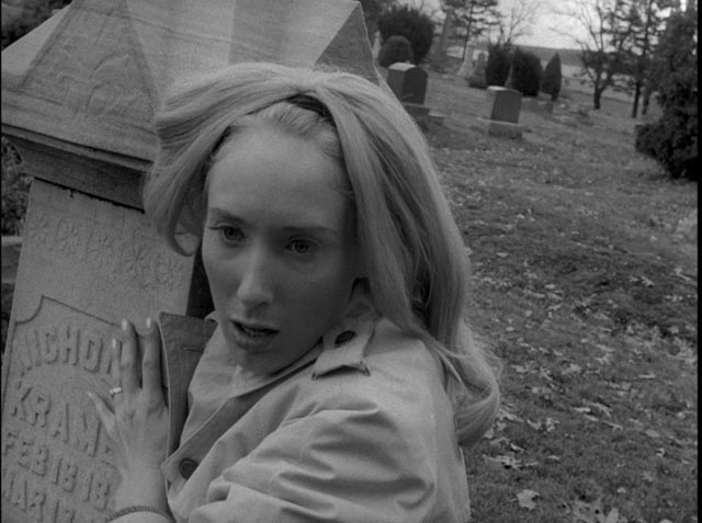 Barbra (Judith O'Dea) never recovers from the shock of her first zombie encounter in George A. Romero's Night of the Living Dead (1968)