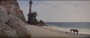 The shocking revelation at the end of Franklin J. Schaffner's Planet of the Apes (1968)
