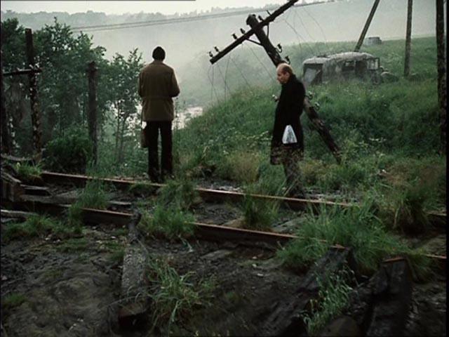 The three men arrive in the Zone in Andrei Tarkovsky's Stalker (1979)
