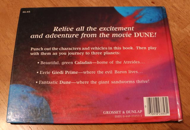 Back cover of the Dune pop-up book
