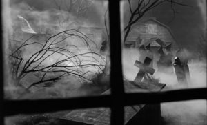 The fog-shrouded New England village of Whitewood in John Llewellyn Moxey's The City of the Dead (1960)