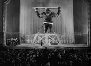 Kong, representative of an untamed world, brought low by imperialism in Merian C. Cooper and Ernest B. Schoedsack's King Kong (1933)