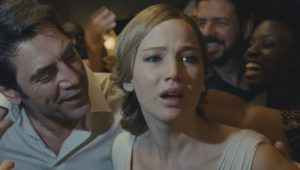 Him (Javier Bardem) tries to convince Mother (Jennifer Lawrence) to appreciate his rioting fans in Darren Aronofsky's mother! (2017)
