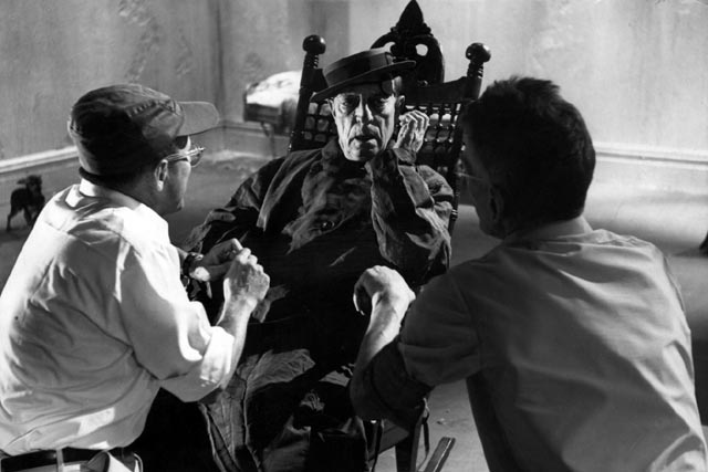 Director Alan Schneider and author Samuel Beckett on the set of Film (1965) with Buster Keaton
