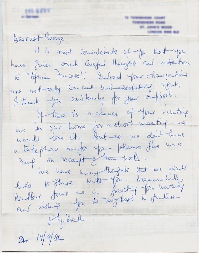 Letter from Princess Elizabeth of Toro