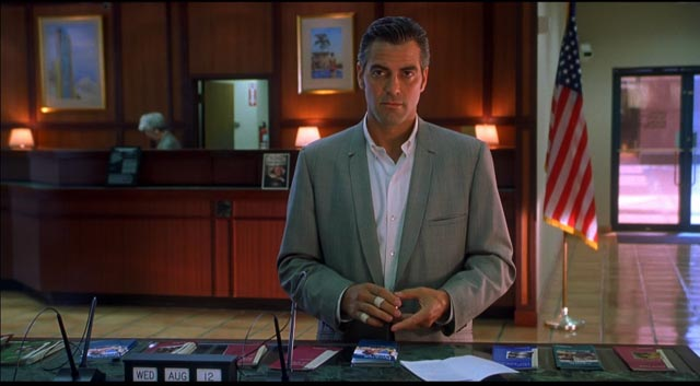 George Clooney as hapless ex-con Jack Foley in Steven Soderbergh's Out of Sight (1998)
