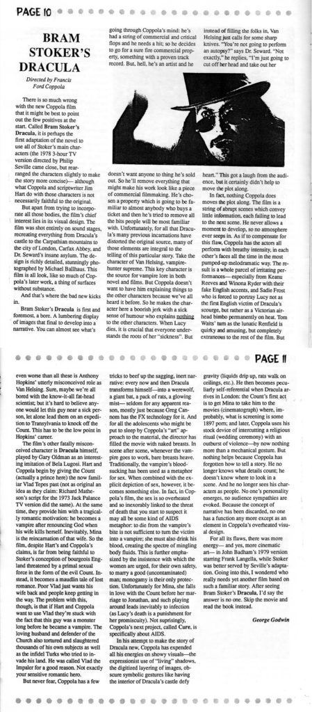 My review of Coppola's Dracula from the January 1993 issue of the WFG's Roughcut