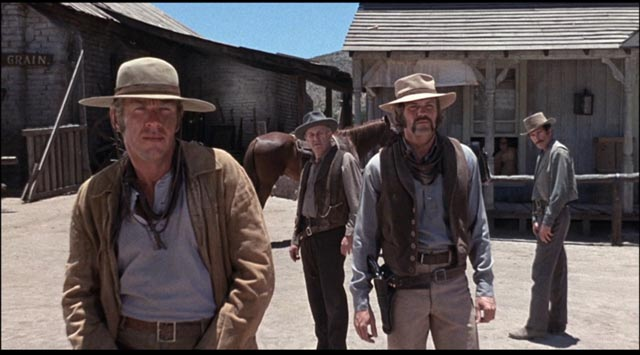 Rancher Bronson's men faced with a vengeance which makes no sense to them in Michael Winner's Lawman (1971)