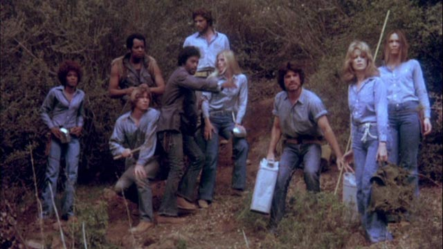 The outsiders band together for a final assault on the bad guys' village in Stephanie Rothman's Terminal Island (1973)