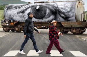 Agnes Varda and JR travel beneath the gaze of Varda's own all-seeing eye in Visages Villages (2017)