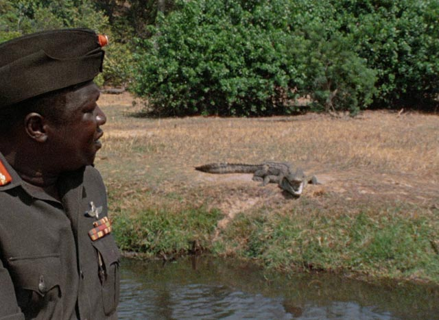 Amin doesn't mention that the crocodiles are his chosen method for disposing of his murder victims in Barbet Schroeder's General Idi Amin Dada: A Self-Portrait (1974)