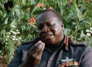 Idi Amin as amiable host in Barbet Schroeder's General Idi Amin Dada: A Self-Portrait (1974)