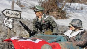 The SS looking for Mark's bar in the Belgian town of Marwencol in Jeff Malmberg's Marwencol (2010)