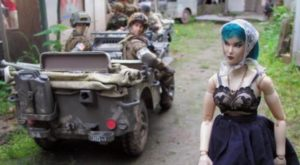 The witch Deja Thoris walks through the town of Marwencol in Jeff Malmberg's Marwencol (2010)