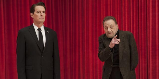 Agent Cooper (Kyle MacLachlan) in the Red Room with the one-armed man (Al Strobel) in David Lynch's Twin Peaks (2017)