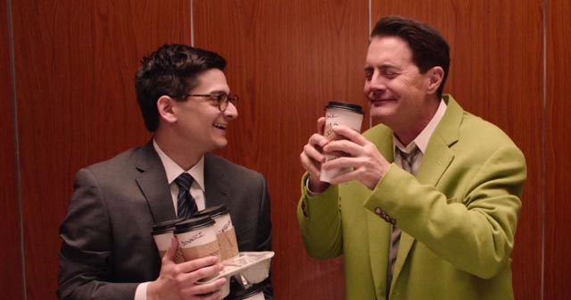 Dougie Jones (Kyle MacLachlan) loves his coffee in David Lynch's Twin Peaks (2017)