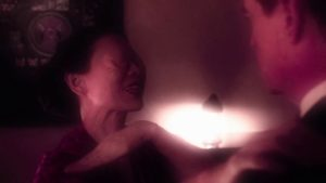 The eyeless woman Naido (Nae Tazawa) tries to warn Cooper in the Other Place in David Lynch's Twin Peaks (2017)