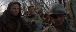 Major Falconer (Burt Lancaster) and his men arrive at the Medieval castle in Sydney Pollack's Castle Keep (1969)